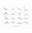 dinosaurus origami set vector image vector image