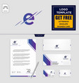 e initial logo template and stationery design vector image vector image