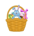Easter basket with rabbit and eggs vector image