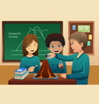 elementary students doing a volcano experiment vector image vector image