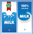 fresh milk design template package vector image vector image