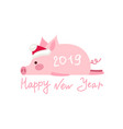 funny card design with cartoon pig vector image