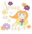 girl portrait smelling flower bouquet and vector image vector image