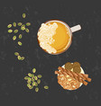 glass of beer and snack vector image vector image