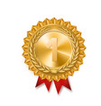 gold medal gold sign of the 1st place red ribbon vector image