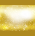 golden winter christmas background with snowflakes vector image