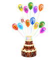 happy birthday cake and balloons vector image vector image