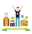 Happy man ready for travel adventures Tourism vector image vector image