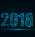 happy new year 2018 text design with particles vector image vector image