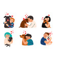 kids hugging dog pets vector image