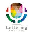 Logo Abstract Lettering V Rainbow Alphabet Icon vector image
