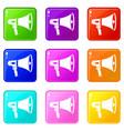 megaphone icons 9 set vector image vector image