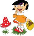 mushroom cartoon girl vector image vector image