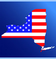 new york state map with american national flag vector image vector image