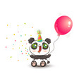 panda with pink balloon vector image