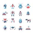 Robots - flat design icons set vector image