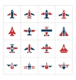 set color icons planes vector image