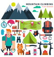 set flat icon climbing vector image vector image