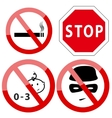 Set of four restricted access denied signs vector image vector image