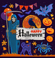 set of halloween cartoon characters and objects vector image