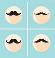 set of hipster mustache with long flat shadow vector image