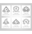 set vintage emblems monograms vector image