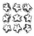 sketch of hand drawn star set vector image