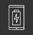 smartphone battery charging chalk icon vector image vector image