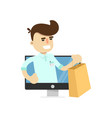 smiling seller man in tv monitor vector image vector image