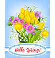 spring holiday greeting card with flowers vector image vector image