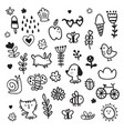 summer doodles set vector image