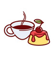 sweet jelly cake with cherry jam and cup of tea vector image