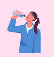 thirsty woman drinks refreshing water from bottle vector image vector image