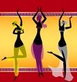 three oriental girls dancing vector image vector image