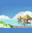 tropical island in ocean with exotic flowers vector image vector image