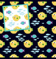two seamless patterns with pufferfish on white vector image vector image