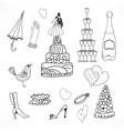 wedding set cute hand drawn icons vector image vector image