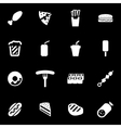 white fastfood icon set vector image vector image