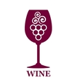 wine glass icon with grapes vector image vector image