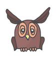 wisdom owl hand drawn color doodle icon owl bird vector image vector image