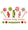 xmas peppermint candy set vector image