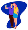 young cute cheerful couple in love takes selfie in vector image