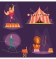 Circus Retro Cartoon Icon Set vector image