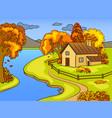 autumn landscape pop art vector image