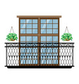 balcony vintage balconied railing windows vector image vector image