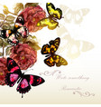 beautiful background with roses and butterflies vector image