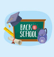blackboard with graduation cap and backpack with vector image