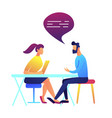 businessman and woman talking vector image vector image
