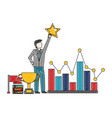 businessman holding star chart trophy flag success vector image