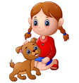 cartoon little girl stroked the dog s head vector image